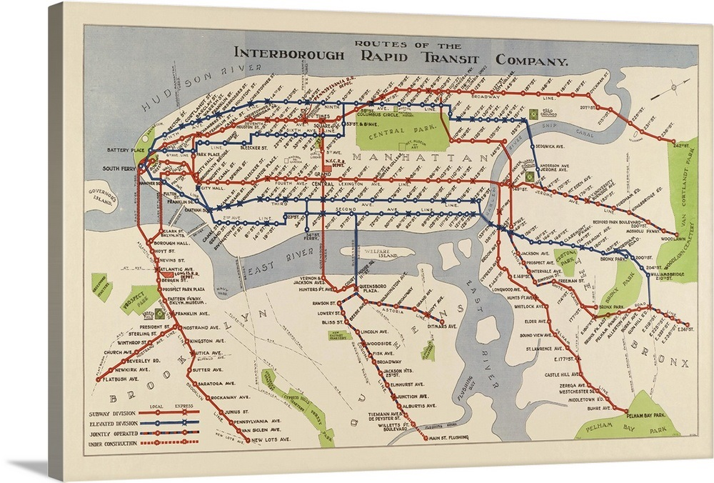 Nyc Subway Map Canvas Wall Art.The Routes Of The New York City Subway In 1924