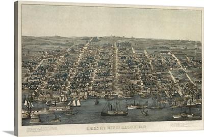 Vintage Birds Eye View Map of Alexandria, Virginia