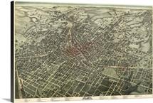 Vintage Birds Eye View Map of Atlanta, Georgia
