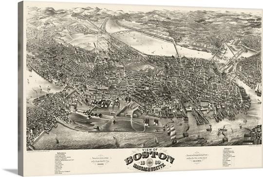 Vintage Birds Eye View Map of Boston, Massachusetts