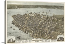 Vintage Birds Eye View Map of Charleston, South Carolina