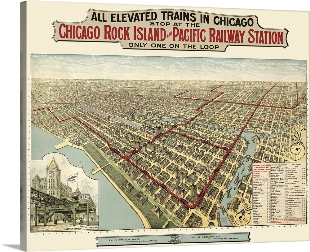 Chicago Map Canvas.Vintage Birds Eye View Map Of Chicago Illinois Wall Art Canvas