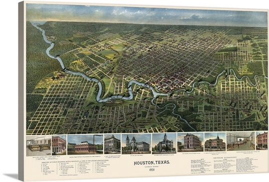 Vintage Birds Eye View Map Of Houston Texas Wall Art Canvas Prints - Vintage texas map framed