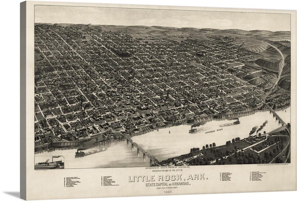 Vintage Birds Eye View Map of Little Rock, Arkansas Wall Art, Canvas ...
