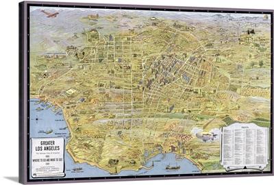 Vintage Birds Eye View Map of Los Angeles