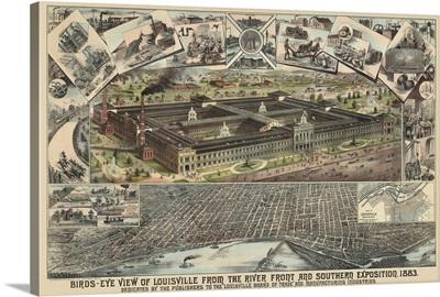 Vintage Birds Eye View Map of Louisville, Kentucky