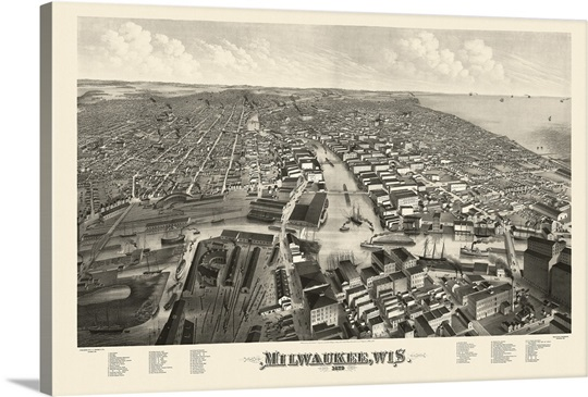 Vintage Birds Eye View Map Of Milwaukee Wisconsin Wall Art Canvas - Vintage milwaukee map