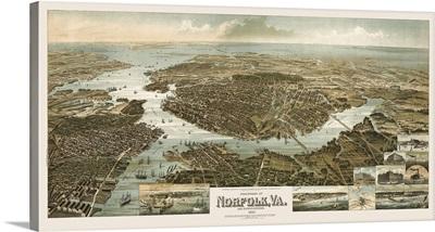 Vintage Birds Eye View Map of Norfolk, Virginia