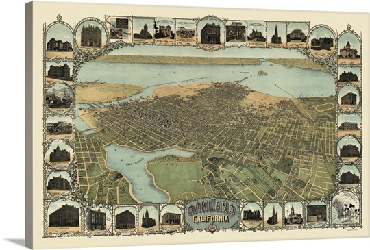 Vintage birds eye view map of oakland california wall art canvas vintage birds eye view map of oakland california publicscrutiny Image collections