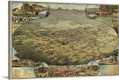 Vintage Birds Eye View Map of Phoenix, Arizona