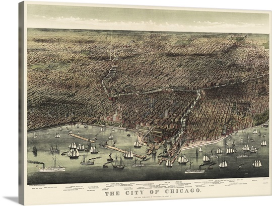 Chicago Wall Art vintage birds eye view map of the city of chicago wall art, canvas