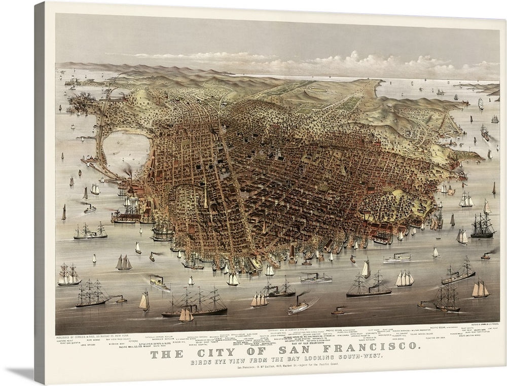 Vintage Birds Eye View Map Of The City Of San Francisco