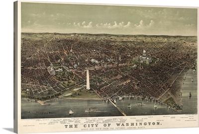 Vintage Birds Eye View Map of the City of Washington
