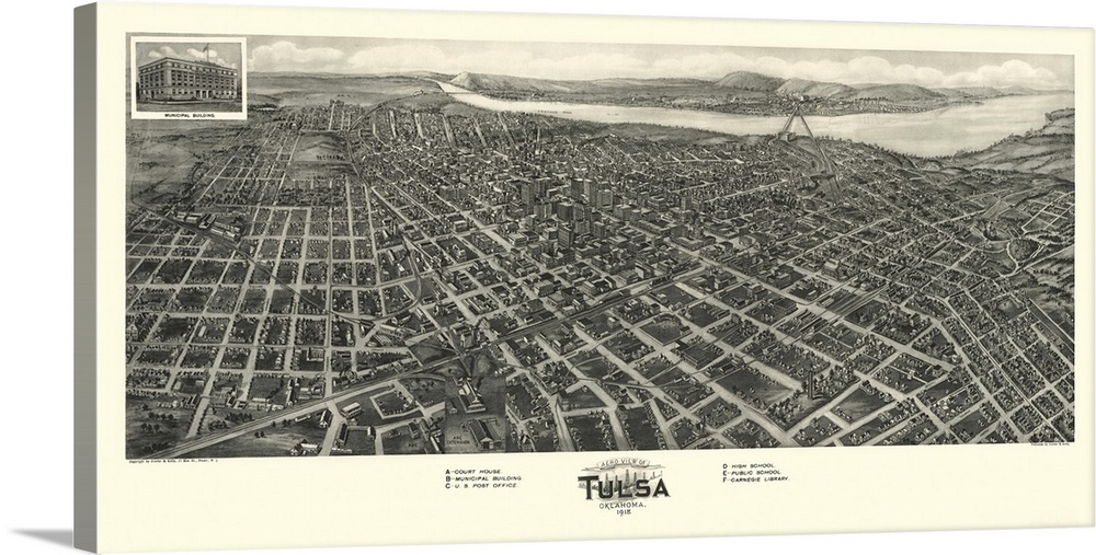 Vintage Birds Eye View Map of Tulsa Oklahoma Wall Art Canvas