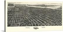 Vintage Birds Eye View Map of Tulsa, Oklahoma