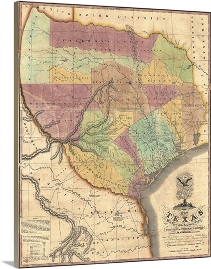 Vintage Map Of Texas With Parts Of The Adjoining States Wall Art - Vintage texas map framed