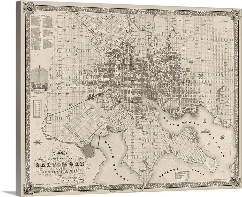 Vintage Map Plan of the City of Baltimore Maryland Wall Art