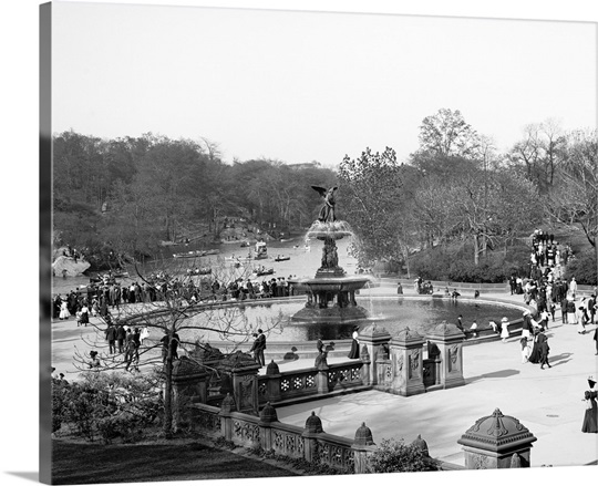 New York City Wall Art vintage photograph of bethesda fountain, central park, new york