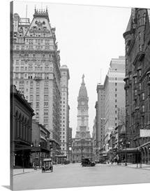 Vintage photograph of Broad Street and City Hall Tower, Philadelphia, Pennsylvania