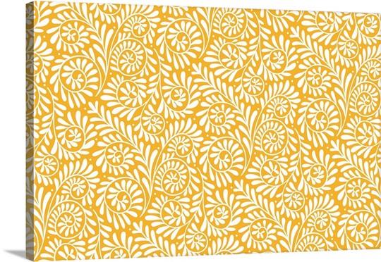 Fiesta - Scrolling Vine Gold - Horizontal Wall Art, Canvas Prints ...