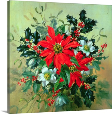 A Christmas arrangement with holly, mistletoe and other winter flowers