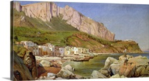 A Fishing Village at Capri (oil on paper on canvas)