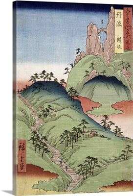 A landscape and seascape, two views from '60-Odd Famous Views of the Provinces'
