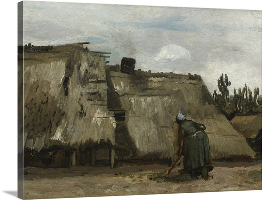 A Peasant Woman Digging in Front of Her Cottage, c.1885