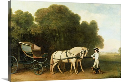 A Phaeton with a Pair of Cream Ponies in the Charge of a Stable-Lad, c.1780-5