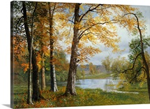 A Quiet Lake (oil on canvas)