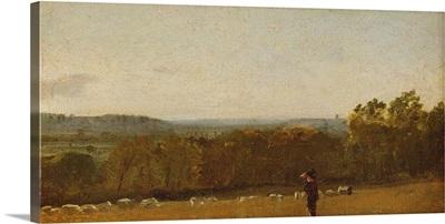 A Shepherd in a Landscape looking across Dedham Vale towards Langham,