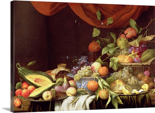 A Still Life of Fruit on a Draped Ledge (oil on canvas)