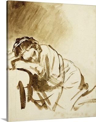 A Young Woman Sleeping (Hendrijke Stoffels) c.1654