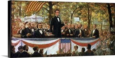 Abraham Lincoln and Stephen A. Douglas debating at Charleston, Illinois