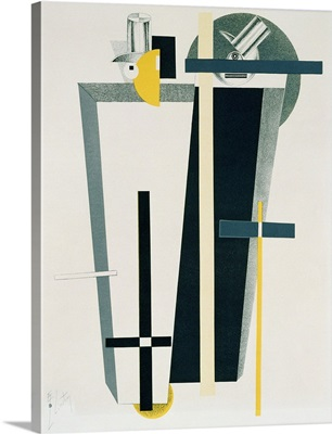 Abstract composition in grey, yellow and black