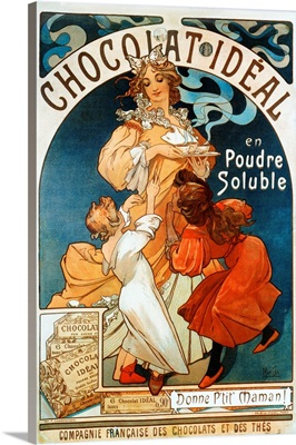 Advertising Poster By Alphonse Mucha For Chocolate Ideal