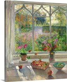 Autumn Fruit and Flowers, 2001 (oil on canvas)