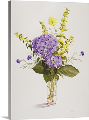Blue Hydrangea with Yellow Loosestrife