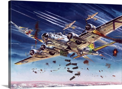 Boeing B-17 Attacked by German Fighters