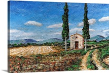 Chapel and Two Trees, Tuscany, 2005 (oil on board)