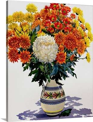 Chrysanthemums in a Patterned Jug, 2005