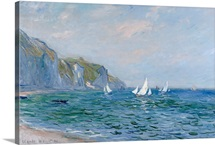 Cliffs and Sailboats at Pourville (oil on canvas)