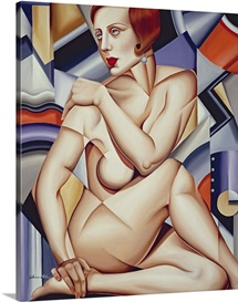 Cubist Nude Orange and Purple