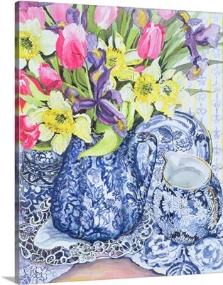 Daffodils, Tulips and Irises with Blue Antique Pots