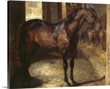 Dark Bay Horse in the stable (oil on canvas)