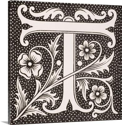 Decorated letter T, from Le Moyen Age et La Renaissance by Paul Lacroix