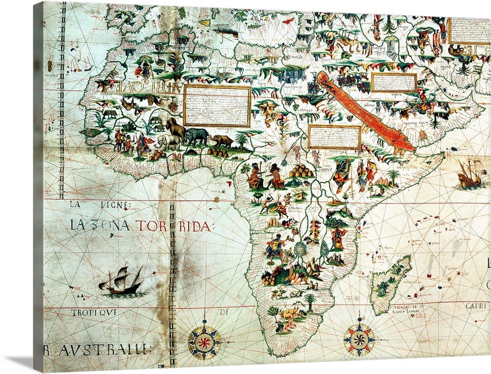 Map Of The World In Detail.Detail Of A Map Of The World Showing Africa 1550