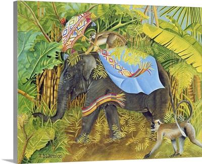 Elephant with Monkeys and Parasol, 2005