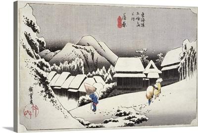 Evening Snow at Kambara, No.16 from The 53 Stations of the Tokaido