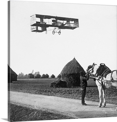 Flight by Henri Farman (1874-1958) from Chalons to Reims, 1908